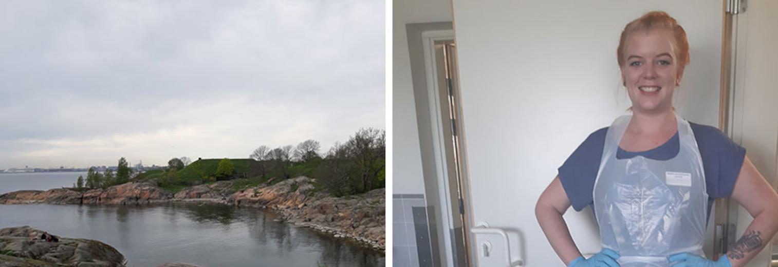 Die Fotocollage zeigt links einen finnischen Fjord und rechts Anna-Lena in Arbeitskleidung.